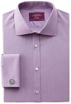 Charles Tyrwhitt Extra Slim Fit Semi-Spread Collar Luxury Poplin Lilac Cotton Dress Shirt French Cuff Size 15/35