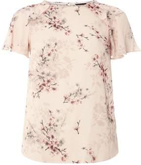 Dorothy Perkins Pink Floral Ruffle T-Shirt