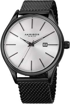 Akribos XXIV Silver Dial Black IP Stainless Steel Men's Watch