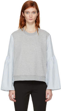 3.1 Phillip Lim Grey French Terry Combo Pullover