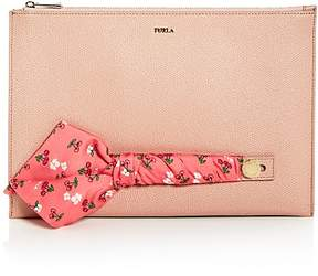 Furla Babylon Embellished Leather Zip Clutch