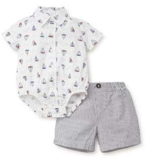 Little Me Baby Boy's Two-Piece Cotton Printed Collared Bodysuit and Stripe Shorts Set