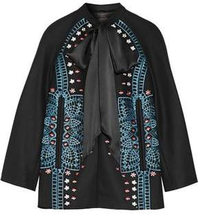 Temperley London Juniper Satin-Trimmed Embroidered Wool And Cashmere-Blend Jacket