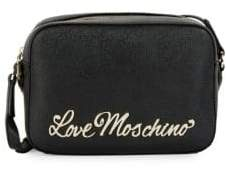 Love Moschino Crosshatch Logo Plaque Crossbody Bag