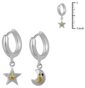 Ice Children's Silver Two Tone Star And Moon Huggie Hoop Earrings For Girls