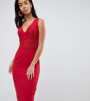Little Mistress Tall Plunge Front Lace Applique Bodycon Dress
