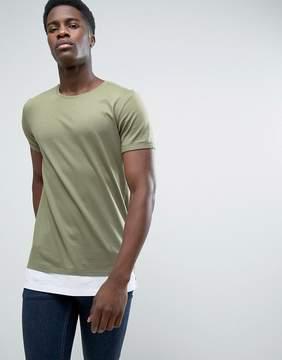 Esprit Longline T-Shirt With Drop Hem Detail
