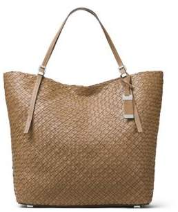 Michael Kors Hutton Woven Leather Tote - LUGGAGE - STYLE