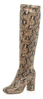 River Island Womens Brown snake print knee high boots