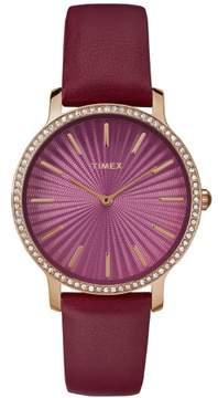 Timex Women's Metropolitan Starlight 34mm Burgundy/Gold-Tone Watch, Leather Strap