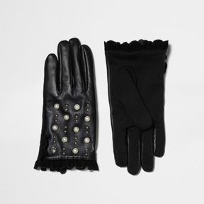 River Island Womens Black studded frill touch screen gloves