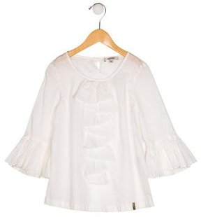 Junior Gaultier Girls' Ruffle-Accented Long Sleeve Top w/ Tags