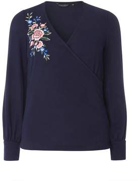 Dorothy Perkins Navy Floral Embroidered Wrap Front Top