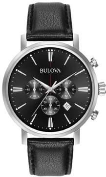 Bulova Classic 96B262 Black Leather Analog Quartz Men's Watch