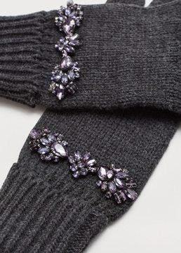 Violeta BY MANGO Crystal appliqués gloves