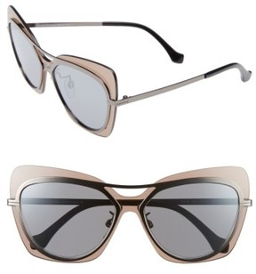Balenciaga Women's 57Mm Layered Butterfly Sunglasses - Gunmetal/ Black/ Silver/ Brown
