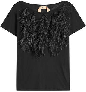 N°21 N21 Cotton T-Shirt with Ostrich Feathers