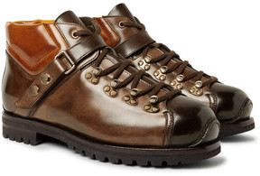 Santoni Shearling-Lined Burnished-Leather Boots