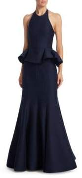 Halston Flared Ruffled Evening Gown