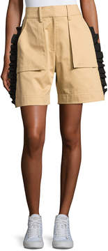 Public School Mousa Ruffled Poplin Shorts, Khaki