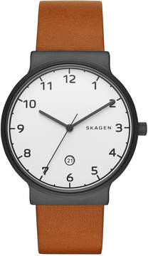 Skagen Men's Ancher Light Brown Leather Strap Watch 40mm SKW6297