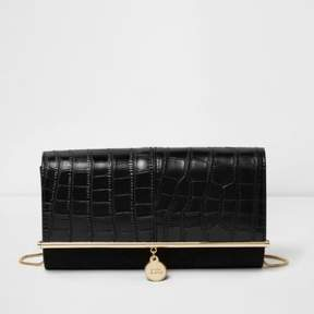 River Island Womens Black croc embossed bar top clutch bag