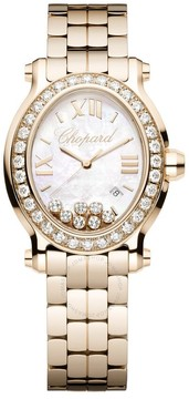 Chopard Happy Sport Mother of Pearl Diamond Dial Rose Gold Ladies Watch