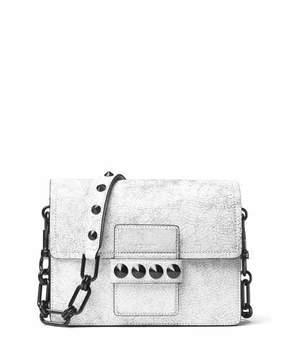 Michael Kors Cate Medium Cracked Shoulder Bag, Optic White - OPTIC WHITE - STYLE