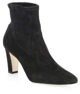 Manolo Blahnik Pascalow 70 Stretch Suede Booties