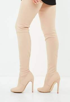 Missguided Nude Round Toe Over The Knee Heeled Boots