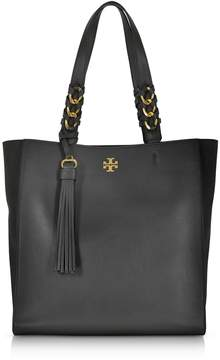 Tory Burch Brooke Black Leather Tote Bag W/suede Trims - BLACK - STYLE