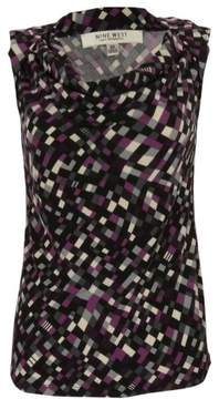 Nine West Women's Cowl Neck Sleeveless Blouse (XS, Grey Multi)