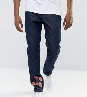 Hype Muscle Fit Skinny Jeans In Blue With Floral Embroidery