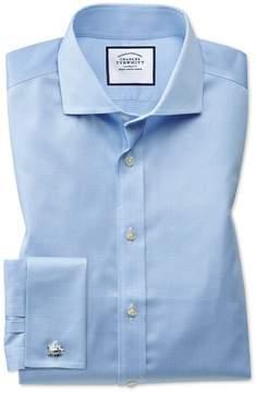 Charles Tyrwhitt Extra Slim Fit Spread Collar Non-Iron Puppytooth Sky Blue Cotton Dress Shirt Single Cuff Size 14.5/33