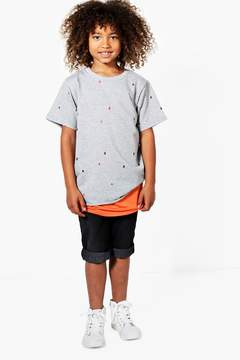 boohoo Boys Distressed Double Layer Tee