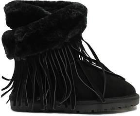 Lamo Black Fringe Wrap Suede Boot - Women
