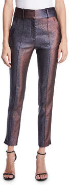 Veronica Beard Lago Metallic Pintuck Trousers