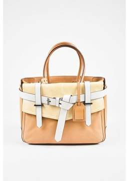 Reed Krakoff Pre-owned Tan Light Yellow White Leather Boxer Tote Bag.