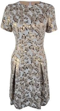 Vince Camuto Women's Short Sleeve Metallic Dress