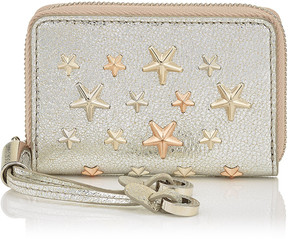 Jimmy Choo NELLIE Champagne Glitter Leather with Multi Metal Rose Gold Stars Coin Purse