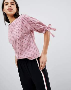Esprit Polka Dot And Stripe Shell Top With Tie Sleeves
