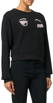 Chiara Ferragni Women's Black Cotton Sweatshirt.