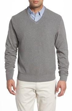 Cutter & Buck Men's Big & Tall Bryant Rib-Knit V-Neck Sweater