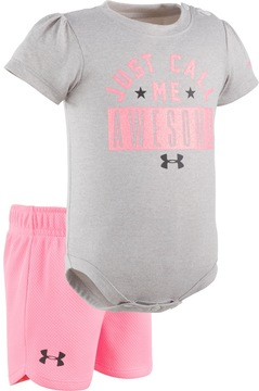 Under Armour Baby Girl Just Call Me Awesome Graphic Bodysuit & Mesh Shorts Set