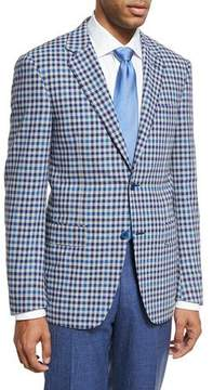 Canali Check Wool Two-Button Sport Coat, Light Gray/Blue