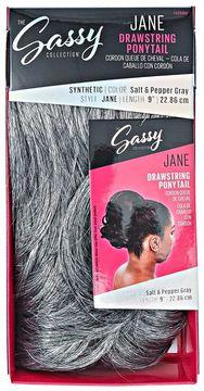 The Sassy Collection Jane Salt & Pepper Gray 9 Inch Drawstring Ponytail