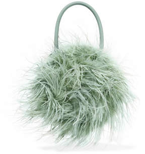 Loeffler Randall Zadie Feather-embellished Leather Tote - Sage green