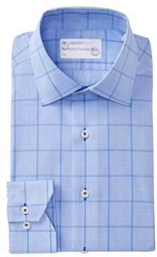Lorenzo Uomo Woven Plaid Trim Fit Dress Shirt