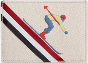 Thom Browne White and Green Skier Single Card Holder