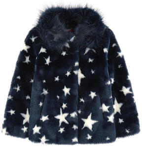 Derhy Kids Printed false fur coat with a removable collar